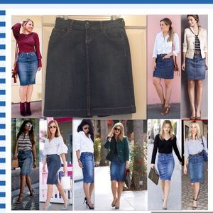 Classic Cotton Denim Pencil Skirt